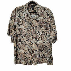 Claiborne Palm Leaves Button Up Short Sleeve Shirt